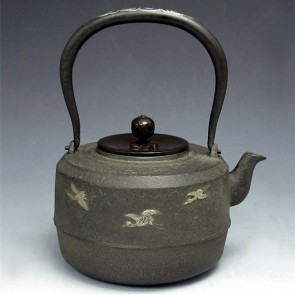 Iron kettle , Auspicious clouds, silver inlaid