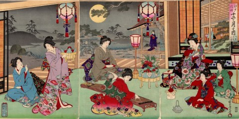 Customs of Edo for the Twelve Months/August: Moon Viewing