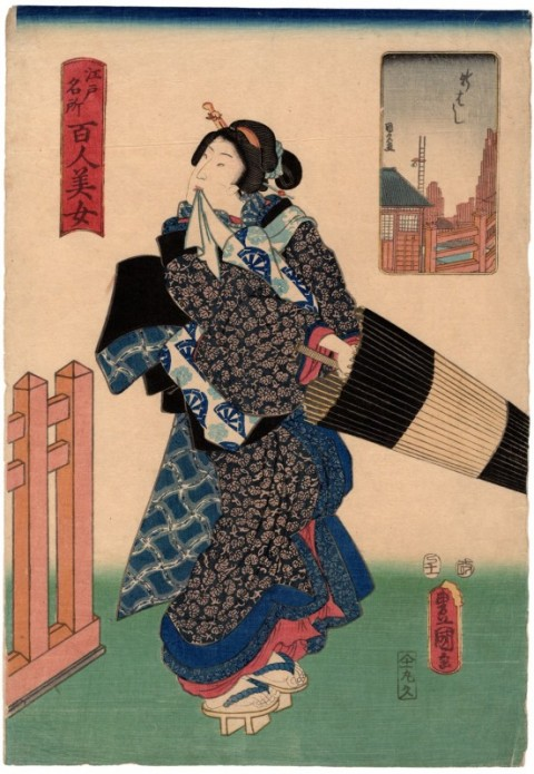 Famous view of Edo,A hundred beautiful Girls,  Shinbashi