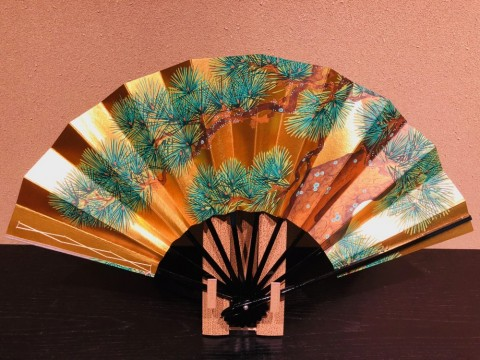 Decorative folding fan,Pine
