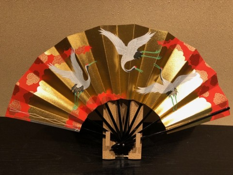 Decorative folding fan,Crane
