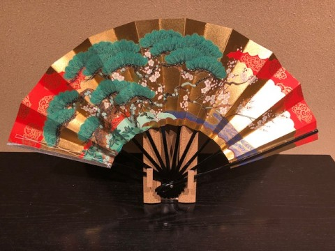 Decorative folding fan, Pine bamboo plum