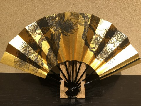 Decorative folding fan,Pine (Sumie)