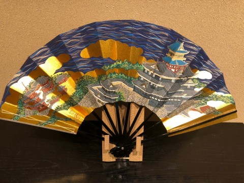 Decorative folding fan,Azuchi castle