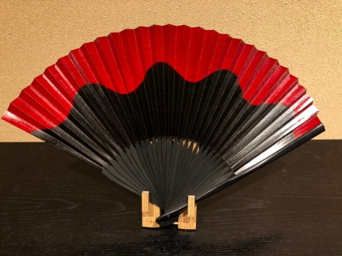Fan,Persimmon astringent painting (Black)