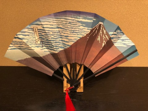 Decorative folding fan, Akafuji