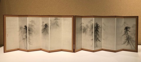 Reduction folding screen,Pine trees