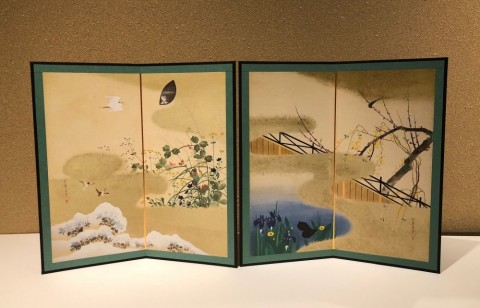 Reduction folding screen,Flowers and Birds of The Four Seasons