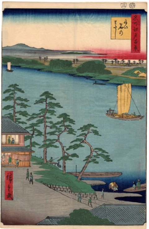 One hundred famous views of Edo,Niijuku no watashi