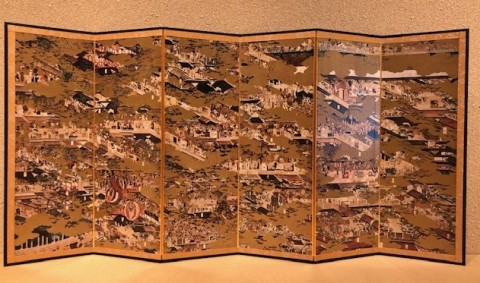 Reduction folding screen, Rakuchu Rakugai