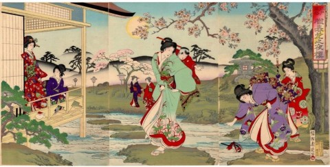 Edo manners and customs,Cherry blossoms at night