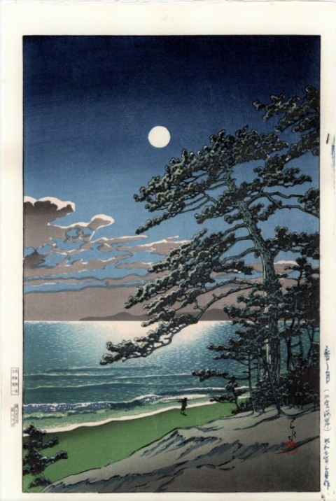 Spring moon   Seaside of Ninomiya