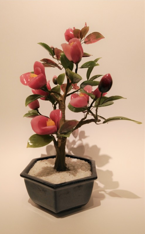 Glass Bonsai crimson camellia with hexagonal blue pot