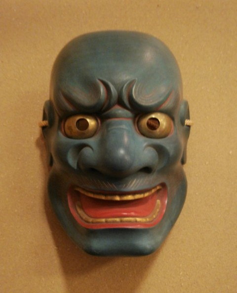Noh mask of Ao-buaku, silver gold eyes