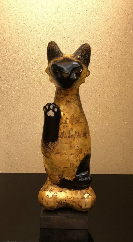 Lacquer Lucky Cat,Siamese Seiza-zo,Black pearl gold foil finish